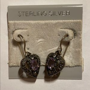 Cute purple sterling silver heart earrings